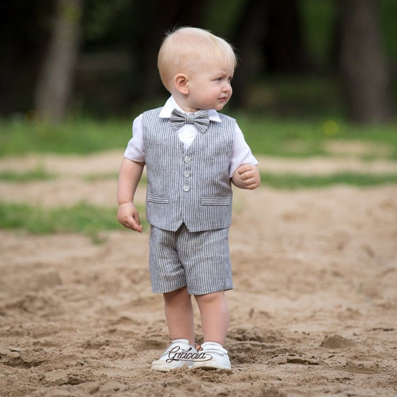 aa9d87c17 Ring bearer outfit Baby boy linen suit Light gray stripe vest