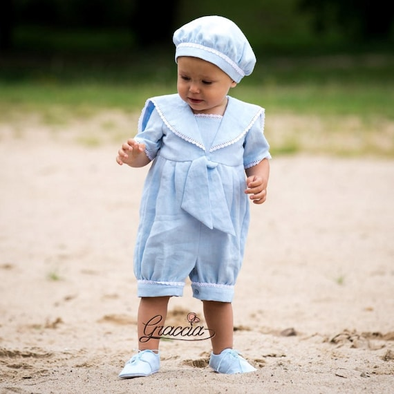 Baby boy baptism outfit Boy sailor rompers Baby boy linen overalls Christening  suit Ring bearer outfit Boy nautical clothes Baby blue outfit aad2f95e5b50