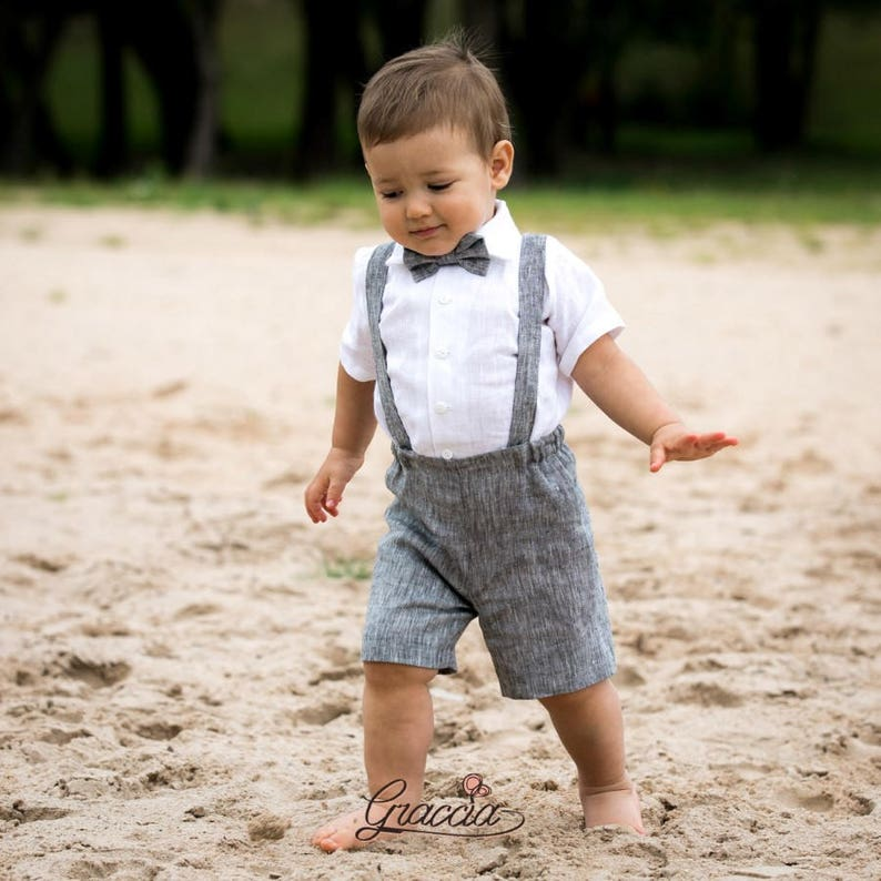 Ring Bearer Outfit Baby Boy Suspenders Suit 1st Birthday Linen Shorts Wit