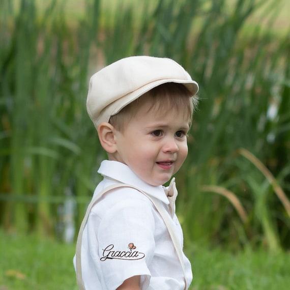Baby boy light beige hat Newsboy hat size 12 18 month Linen  5c722eb5ca0