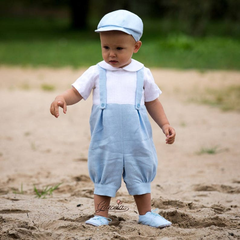 34df3dfacfb1 Baby boy linen romper Baptism romper Ring bearer outfits Baby