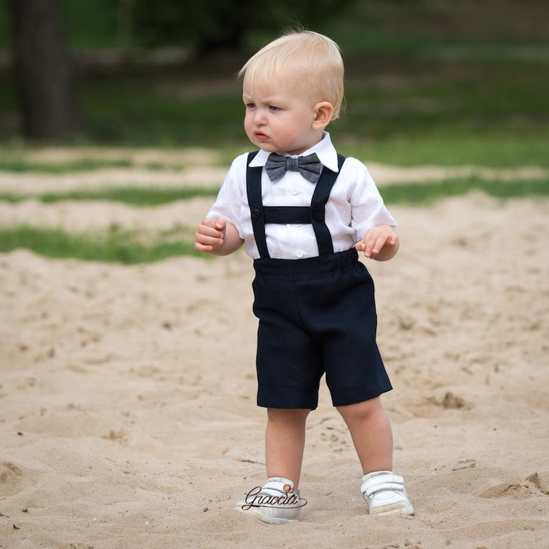 be62211fd Baby boy navy blue outfit Linen suit Ring bearer outfit Baby | Etsy