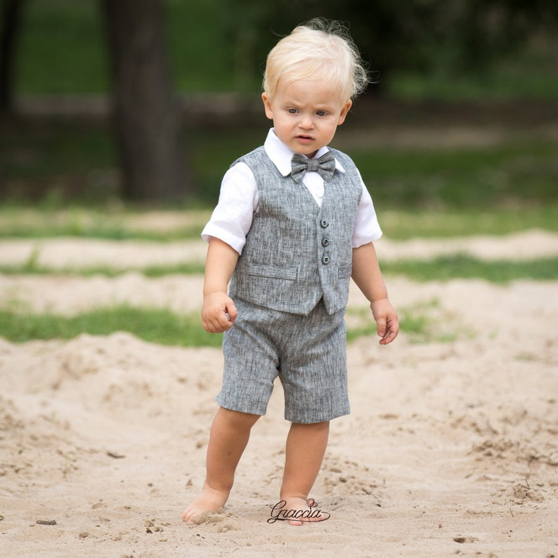c6f865284 Ring bearer outfit Baby boy gray outfit Baby boy linen suit