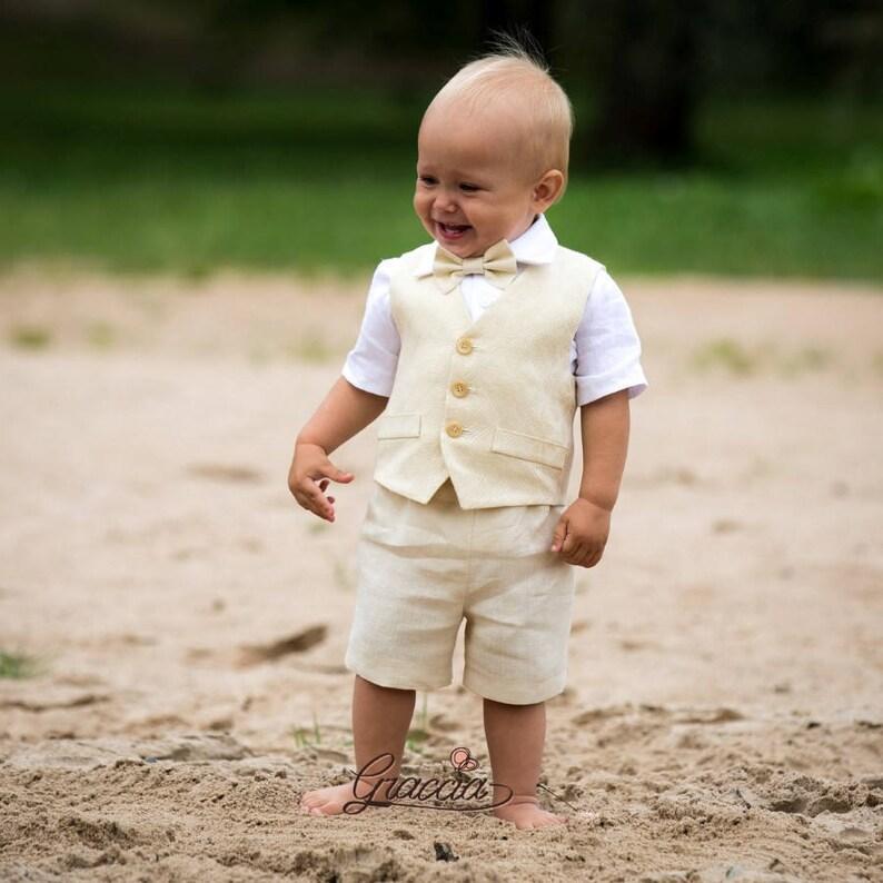 3bbcc93204 Ring bearer outfit Baby boy linen suit Boy baptism suit Boy | Etsy