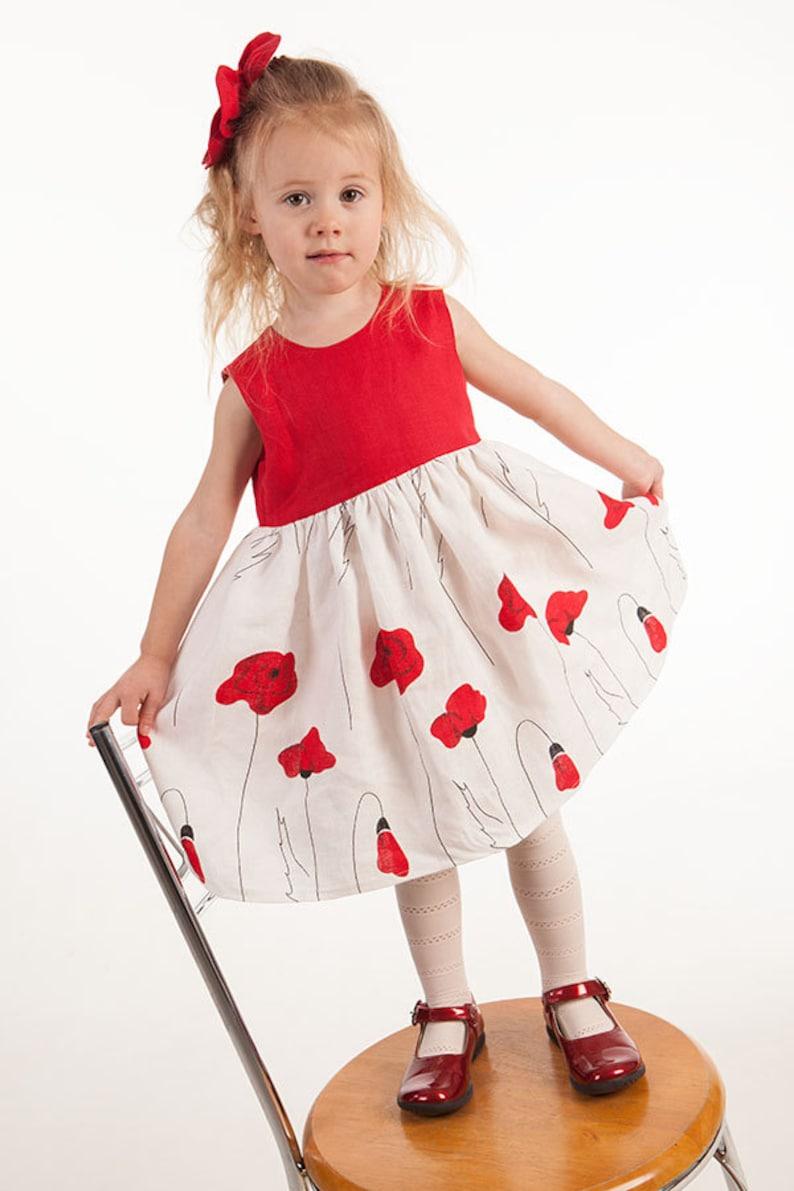 4201556903c Flower girl dress Poppies red white girl dress 1st birthday