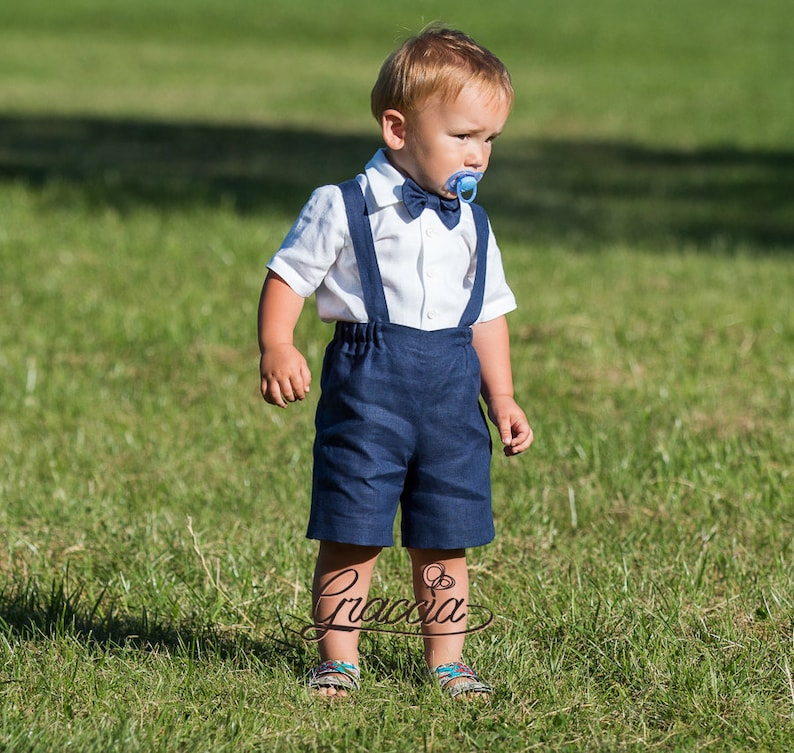 Ring bearer outfit Boy suspenders suit Baby boy linen clothes First birthday shorts with suspenders Wedding formal wear photo prop navy blue