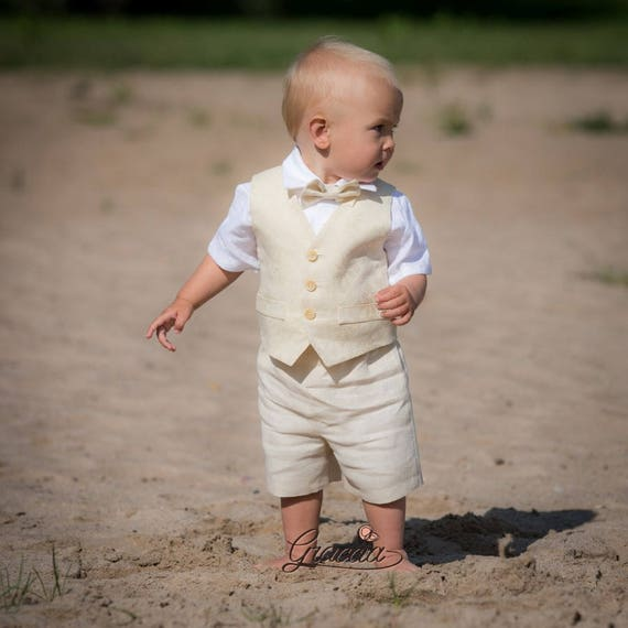 87ee404327 Ring bearer outfit Baby boy linen suit Boy baptism suit Boy first birthday  vest shorts shirt Rustic wedding baby boy formal wear Light beige