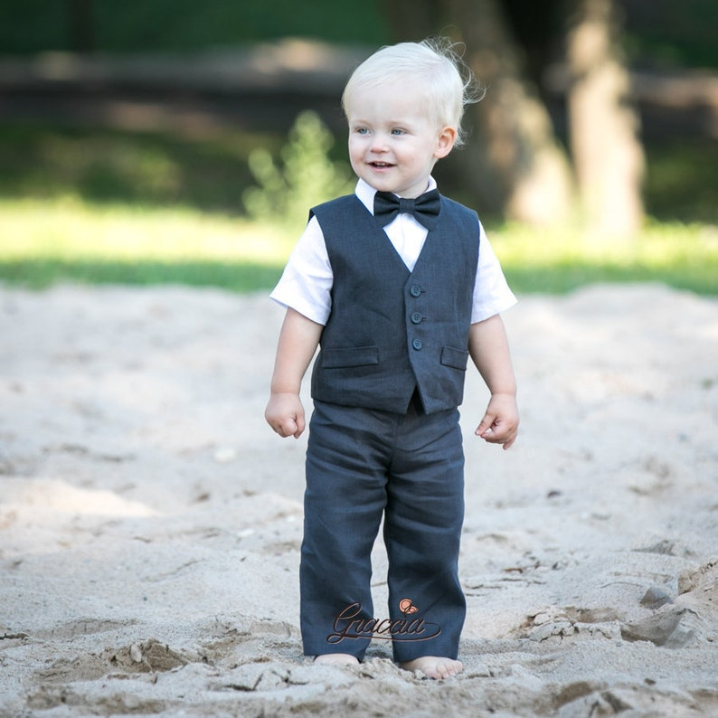 Ring Bearer Outfit Baby Boy Coal Gray Suit Linen Outfits 1st Birthday Formal
