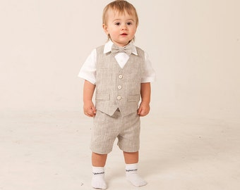 Ring bearer outfit Baby boy linen suit Boy baptism natural clothes Boy first birthday vest shorts shirt Rustic wedding baby boy formal wear