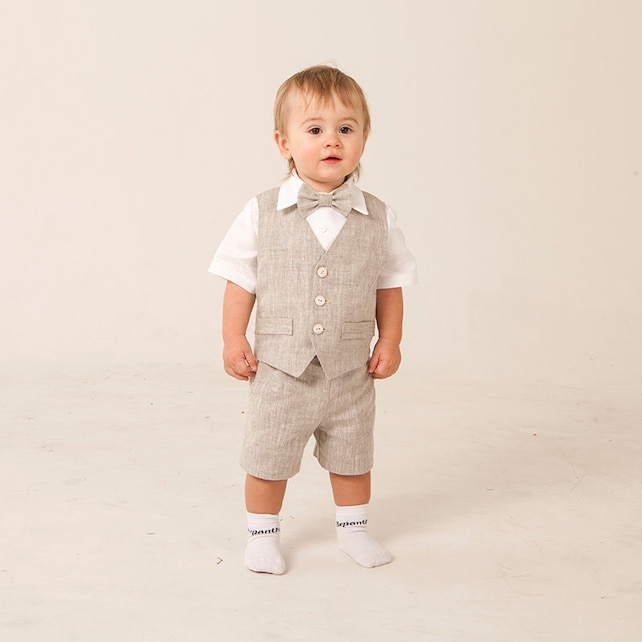 25140a07a1 Ring bearer outfit Baby boy linen suit Boy baptism natural clothes Boy  first birthday vest shorts
