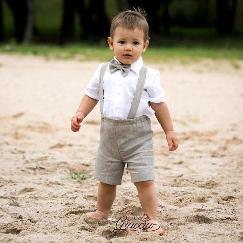 cf6999e95f Baby boy suspenders suit Ring bearer outfit Boy linen suit | Etsy