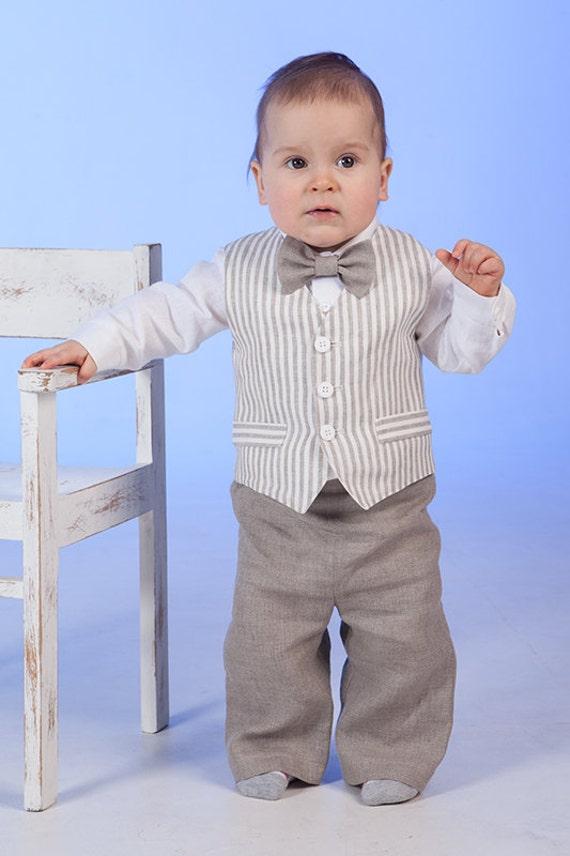 Ringtrager Outfit Baby Junge Leinen Anzug Rustikale Hochzeit Etsy