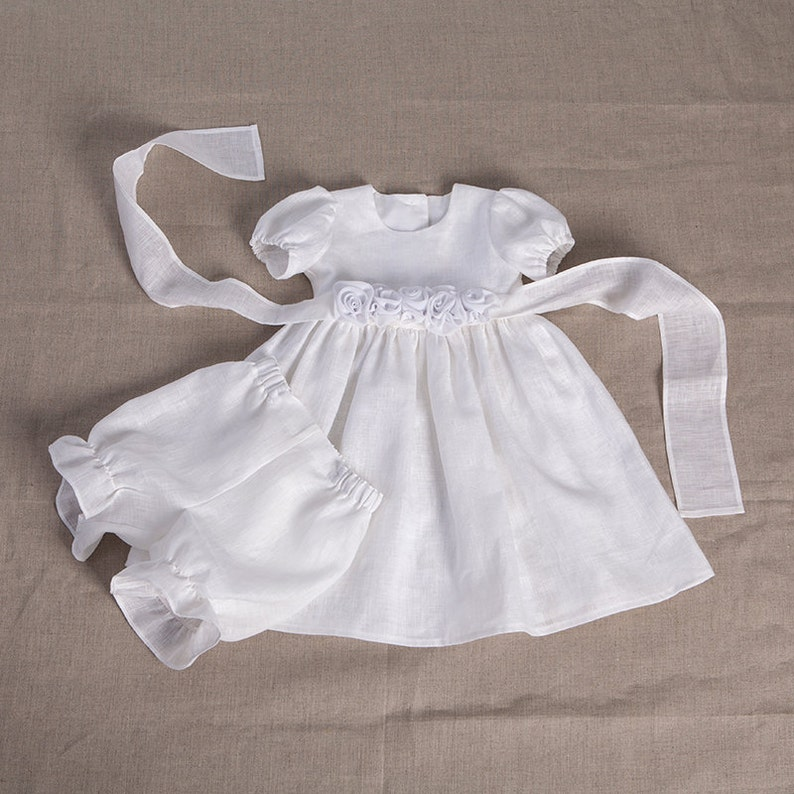 217392be753 Baby girl baptism linen dress bloomers baby special occasion