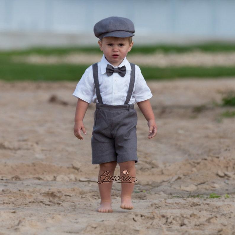 b97da3f859ea8 Ring bearer newsboy outfit Baby boy gray linen suit Wedding