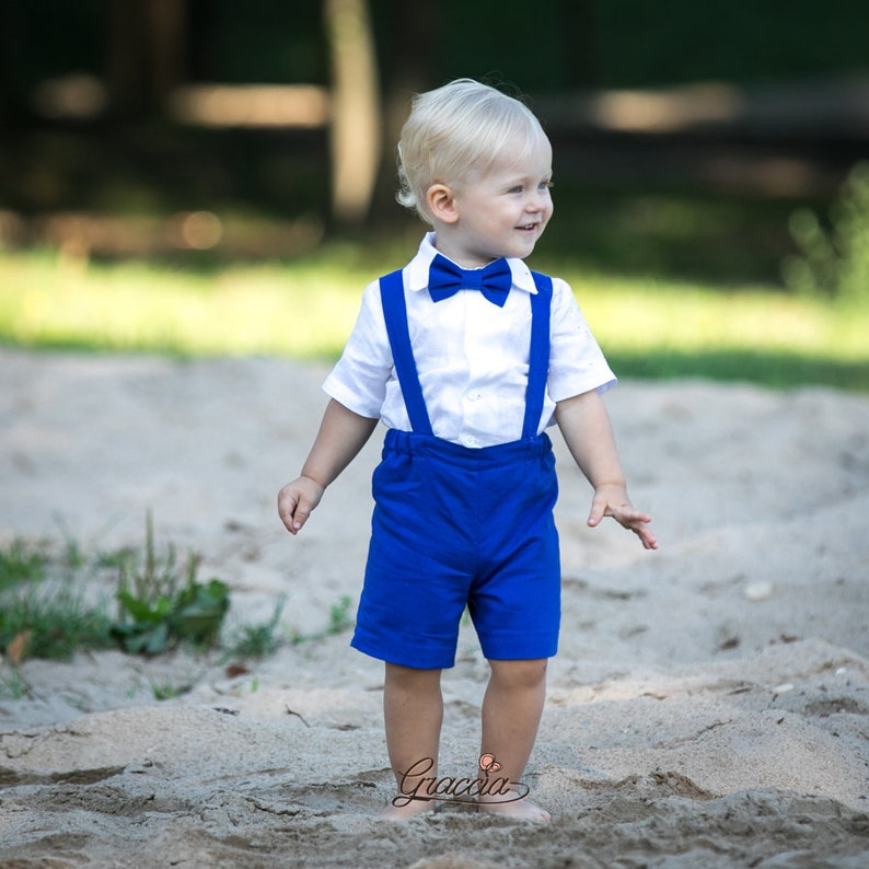 30c0af877 Ring bearer outfits Baby boy royal blue suit Boy shorts with