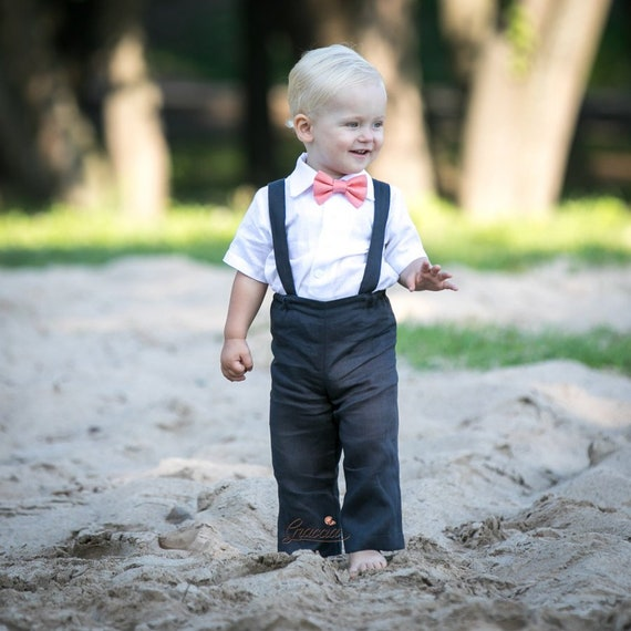 Ring Bearer Accessories Page Boy Outfit Boys Grey Linen Bow Tie Baby Wedding Tie Baby Photo Prop