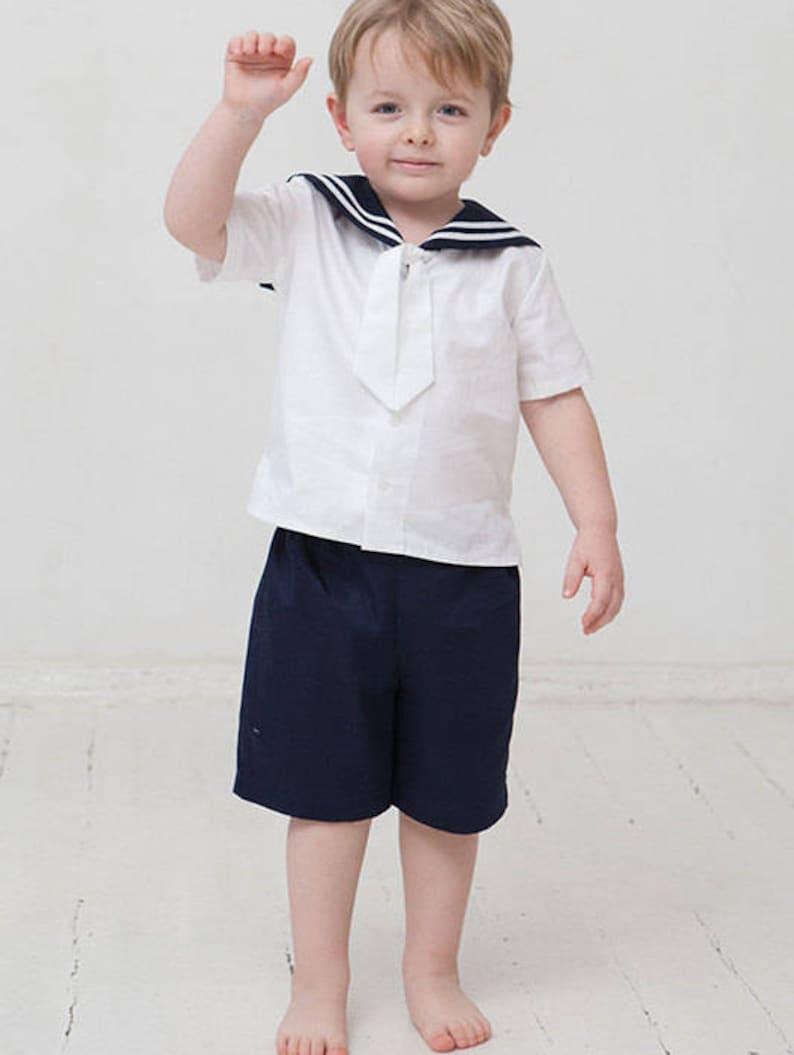 22902c10d30e3 Bébé garçon costume marin garçon baptême lin tenue nautique