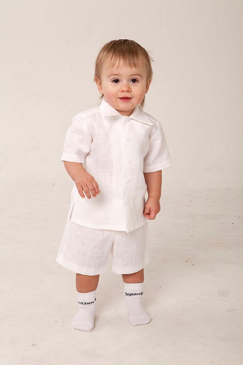 f73c841de Baby boy white shirt shorts Baptism outfit Christening suit