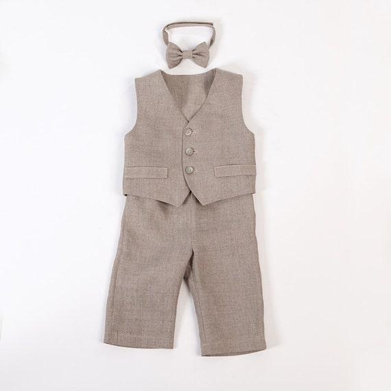 Baby Junge Leinen Anzug Ring Träger Outfit Junge Taufe Natürliche Kleidung 1 Geburtstag Rustikale Hochzeit Anzug Für Baby Familie Foto Anzug Viele