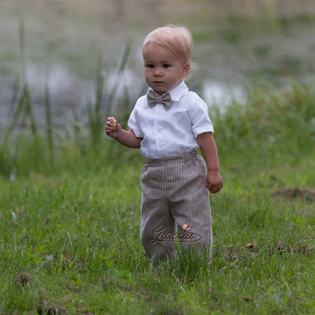 Baby Boy Linen Romper Ring Bearer Outfits Baby Boy Wedding Overalls