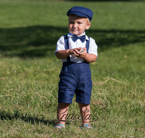 Ring Bearer Outfit Navy Blue Boy Suit Newsboy Outfit Baby