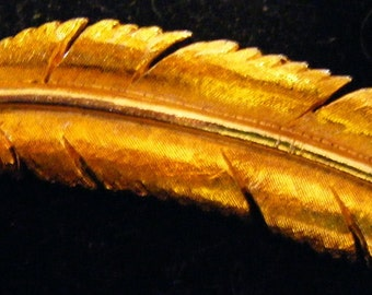Mamselle Gold Feather Pin or Brooch Vintage Estate Piece