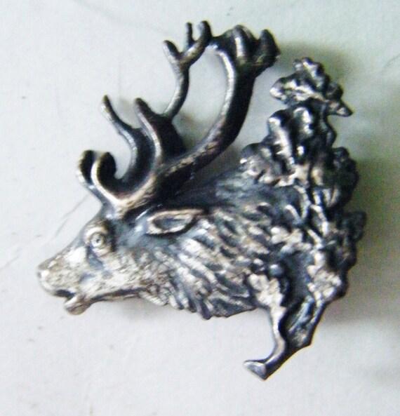 Hunting Hat Pins: Antique Elk Head Metal Brooch Or Hunting Hat Pin