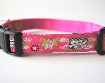 Pink Hearts and Skulls Dog Collar Adjustable Sizes (XS, S, M)