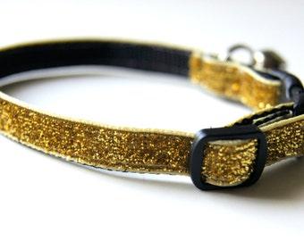 Gold Sparkle Cat or Mini Dog Collar