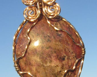 Agate Cabachon wire wrapped pendant