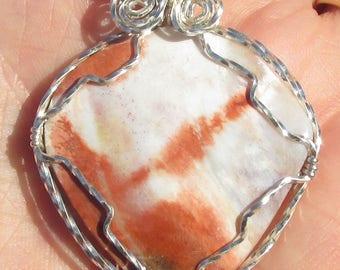 Pascalite  Cabochon pendant  in Argentium silver  wire Necklace