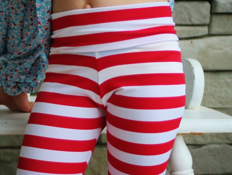 Striped Lycra Leggings with Yoga Waistband