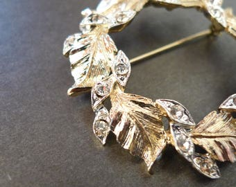 Gold and Silver Leaf Wreath with Rhinestones Vintage Brooch