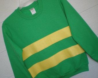 Asriel shirt, Asriel sweatshirt, Undertale shirt, Undertale costume, cosplay shirt, green with yellow stripe, unisex adult si
