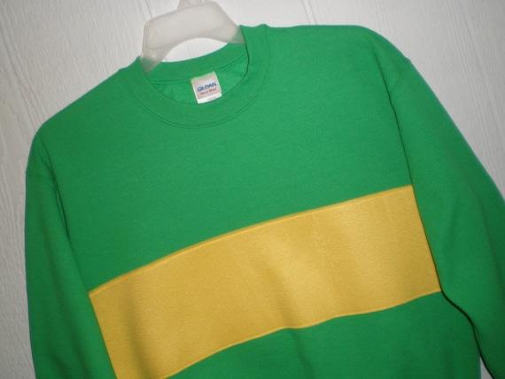 Undertale Chara shirt, Light Chara sweatshirt, costume, cosplay shirt, light green sweatshirt with yellow fleece stripe, unisex adult sizes
