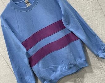 Frisk shirt, Undertale shirt, Frisk sweatshirt, costume, cosplay shirt, blue with magenta stripes, unisex adult sizes