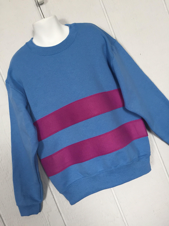 Frisk shirt, Untertale shirt, Frisk sweatshirt, costume, cosplay shirt, blue sweatshirt with magenta stripes, unisex adult sizes