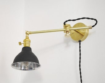 Industrial Brass Stump Lamp With Shop Shade - Adjustable Telescoping Task Bedside Light - Vintage Style Brass Lamp