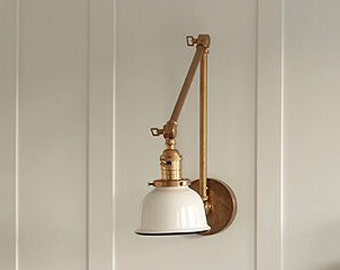 """Articulating Industrial Wall Lamp - Brass Scissor Lamp with 5"""" White or Black Porcelain Enamel Shade"""