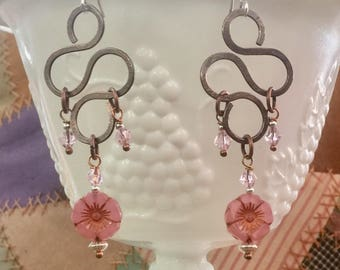 Pink flower, copper and sterling silver earrings
