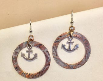 Copper etched hand painted earrings with Sterling Silver Earwires, and silver plated anchor