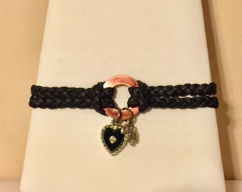Braided leather copper bracelet with heart and elephant charm