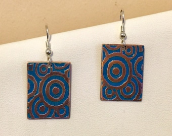 Copper etched dark turquoise earrings with Sterling Silver Earwires