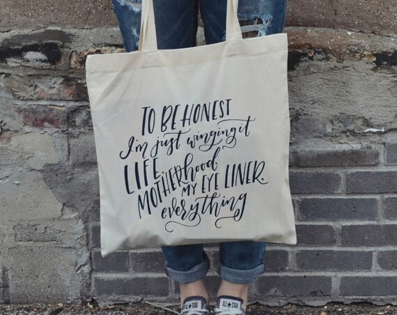 "Handmade Jordanne Marie ""Wingin' It"" Tote Bag - Hand Lettered Canvas Tote - Custom Motherhood Tote Bag"