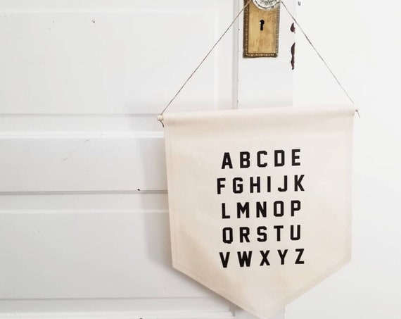 "Handmade ""ABC"" Wall Banner - Handmade Custom Wall Hanging - Fabric Custom Wall Sign - Nursery Decor - Children's Wall Hanging"