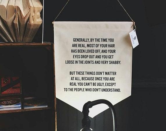 Handmade Velveteen Rabbit Banner - Handmade Fabric Wall Banner - The Velveteen Rabbit Quote - Handmade Custom Wall Hanging