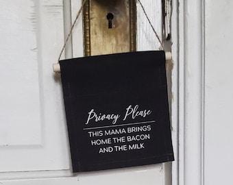 Handmade Privacy Please Doorhang - Pumping At Work Sign - Breastfeeding Humor- Custom Privacy Doorhang - Do Not Disturb Doorhang