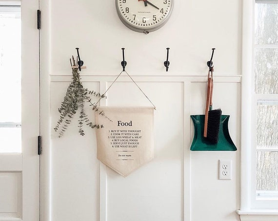 Handmade Food Rules Wall Banner - Handmade Kitchen Wall Banner - Custom Kitchen Wall Hanging