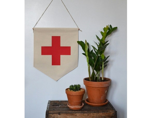 Handmade Swiss Cross Hanging Wall Banner - Swiss Cross Wall Banner - Handmade Swiss Cross Banner