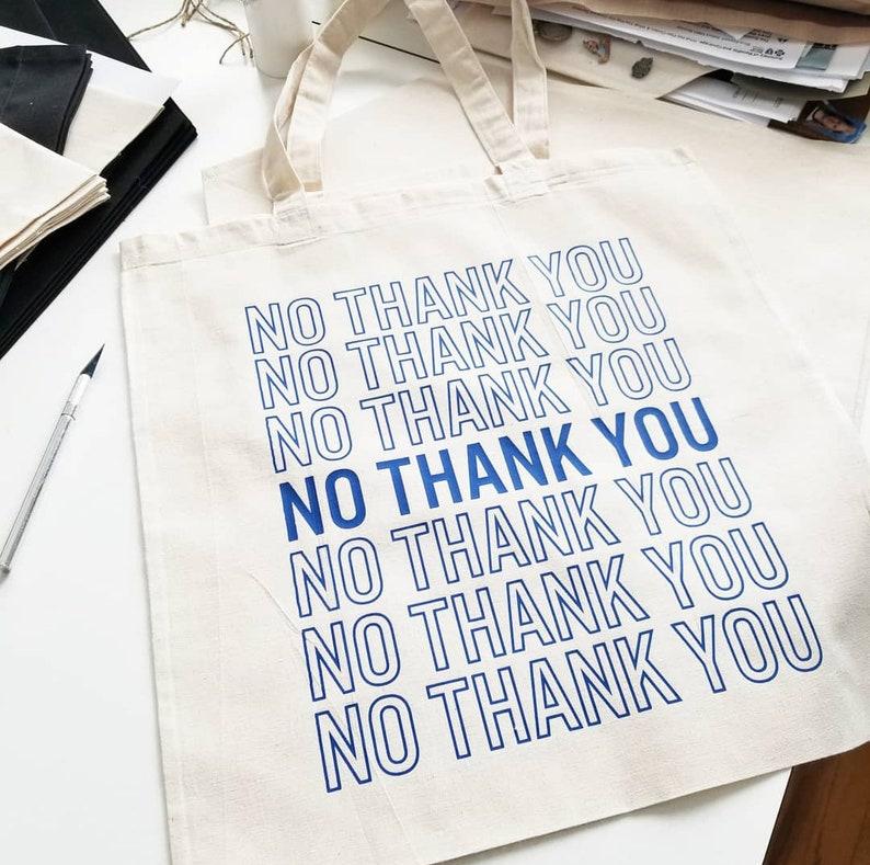 Custom Canvas Tote Bag Custom Handmade Tote Bag Handmade No Thank You Tote Bag